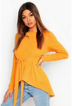 Womens Mustard Jumbo Rib Hem Peplum Long Sleeve Top