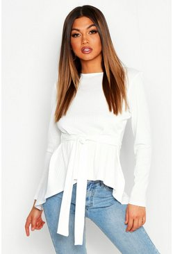 White Jumbo Rib Hem Peplum Long Sleeve Top