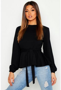 Womens Black Jumbo Rib High Neck Tie Peplum Top