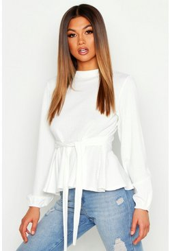 Jumbo Rib High Neck Tie Peplum Top, White, DAMEN