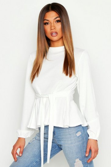 White Jumbo Rib High Neck Tie Peplum Top