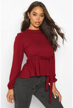 Womens Wine Jumbo Rib High Neck Tie Peplum Top