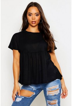 Womens Black Textured Rib Smock Top