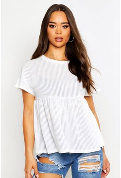 Womens White Textured Rib Smock Top