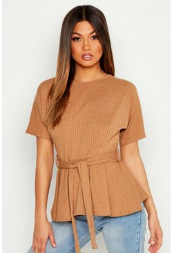 Womens Camel Ribbed Short Sleeve Peplum Top
