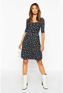Black Ditsy Print Puff Sleeve Jersey Skater Dress