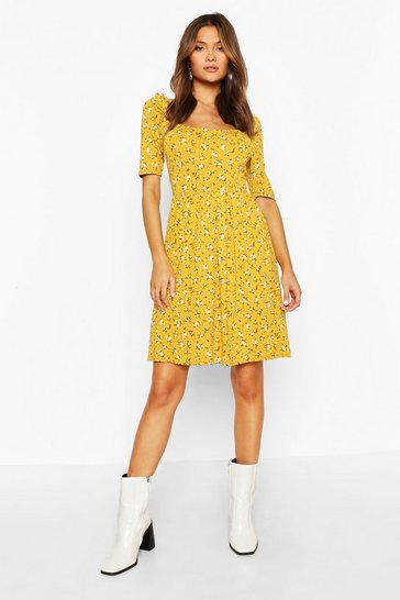 Mustard Ditsy Print Puff Sleeve Jersey Skater Dress