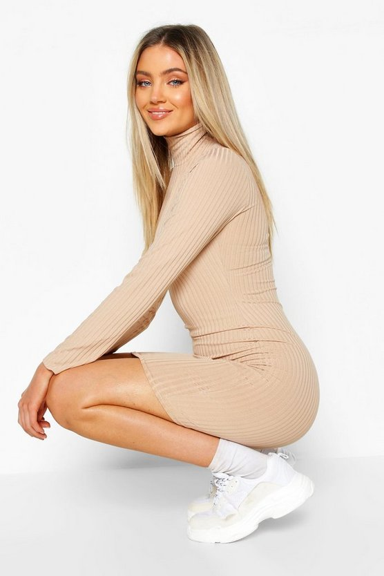 Roll Neck Long Sleeve Bodycon Dress, Stone, Donna