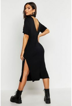 Womens Black High Neck Short Sleeve Jersey Midi Dress