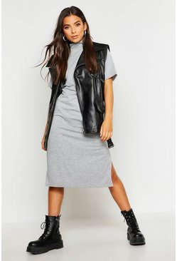 Grey marl High Neck Short Sleeve Jersey Midi Dress