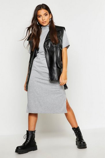 Womens Grey marl High Neck Short Sleeve Jersey Midi Dress