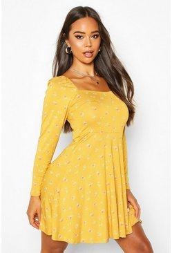Womens Mustard Polka Dot Square Neck Long Sleeve Skater Dress
