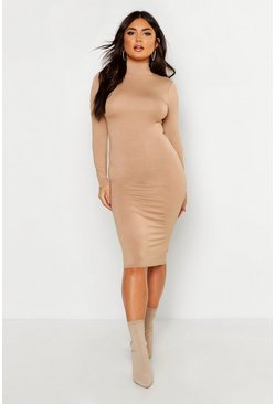 Camel Roll Neck Jersey Long Sleeve Midi Dress