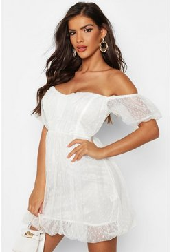 Womens White Dobby Mesh Sweetheart Neck Skater Dress