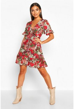 Womens Plum Floral Print Ruffle Front Tea Dress