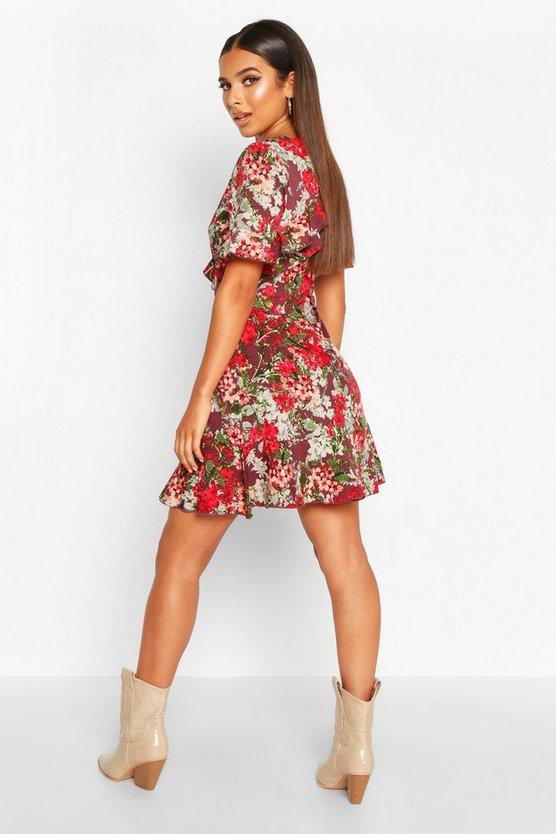 Floral Print Ruffle Front Tea Dress
