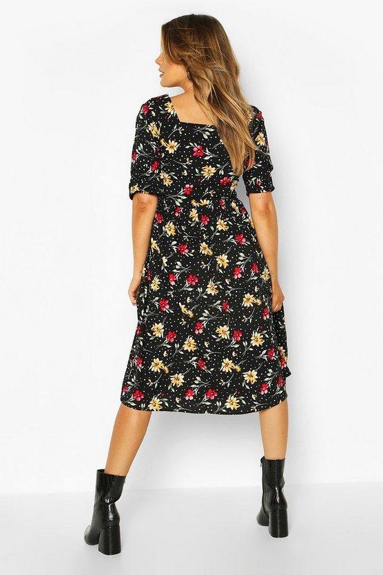 Mixed Print Square Neck Midi Dress