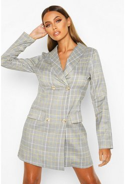 Mustard Tonal Check Blazer Dress