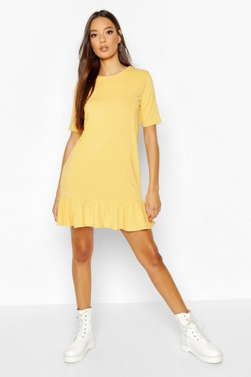 Womens Mustard Rib Drop Hem Shift Dress