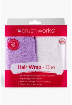 Womens Purple Brushworks Hair Towel Wrap Duo
