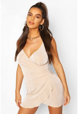 Stone Ruched Side Frill Hem Mini Dress