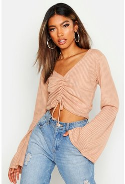 Womens Camel Flare Sleeve Jumbo Ruched Front Crop
