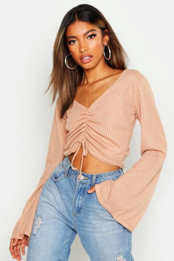 Flare Sleeve Jumbo Ruched Front Crop by Boohoo