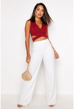 Womens Berry Crepe Plunge Wrap Detail Crop Top