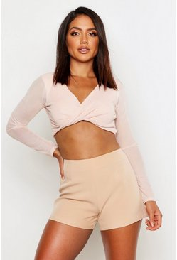 Mesh Twist Front Long Sleeve Crop Top, Nude, DAMEN