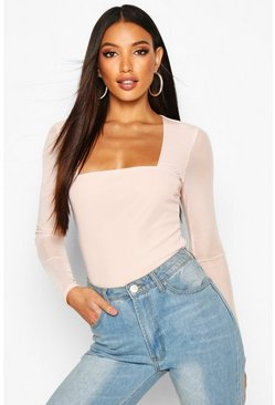 Mesh Square Neck Long Sleeve Top, Blush, Donna