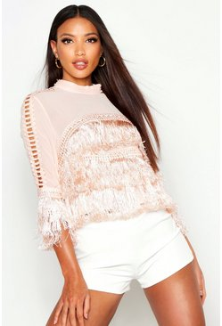 Applique Detail Fringe Blouse, Pink, DAMEN