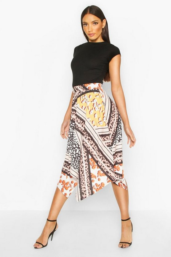 Womens Multi Mixed Print Hanky Hem Skirt