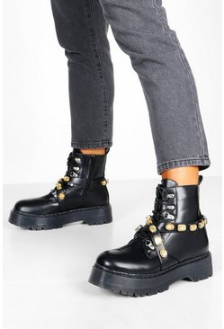 Black Embellished Strap Chunky Sole Hiker Boots