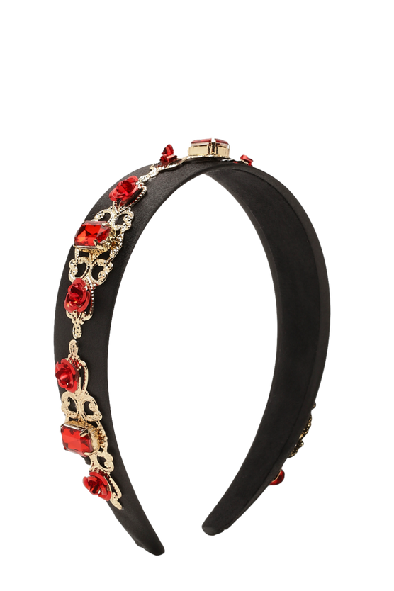 Red Stone & Gold Embellished Headband