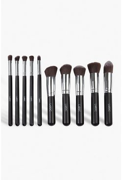 10 Piece Luxury Kabuki Brush Set, Black, Donna