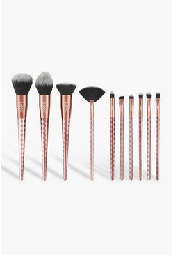 LaRoc 10 Piece Rose Gold Diamond Brush Set, Bronze