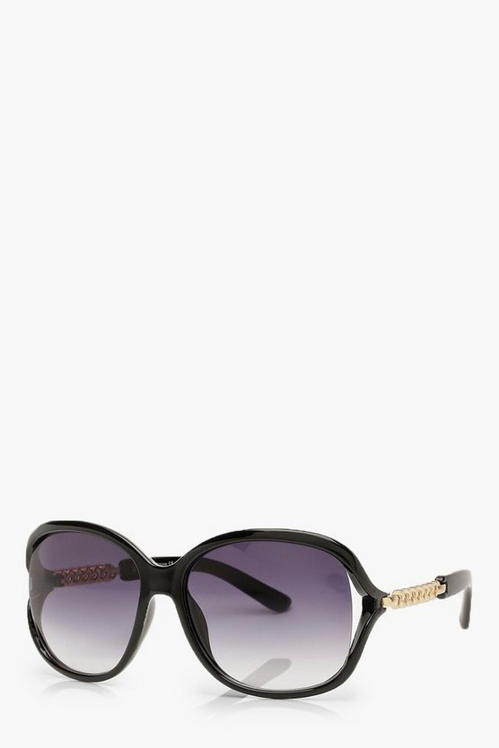 Black Oversized Chain Arm Sunglasses