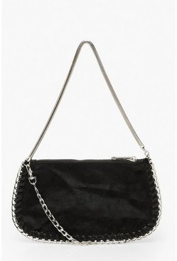 Womens Black Chunky Chain Under Arm Bag