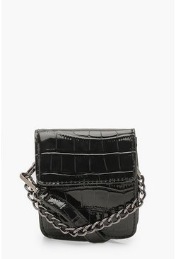 Womens Black Mini Croc Chain Detail Cross Body Bag