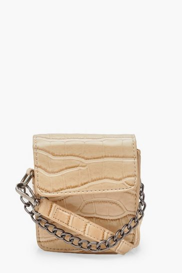 Womens Nude Mini Croc Chain Detail Cross Body Bag