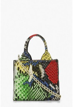 Womens Multi Snake Teeny Tiny Cross Body Bag & Chain