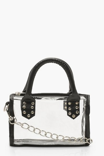 Womens Black Mini Studded Grab Bag
