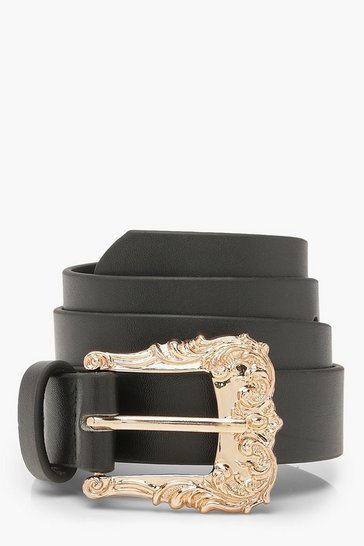 Womens Black Filigree Buckle Belt