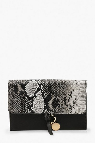 Womens Black Snake Clutch Bag With Coin Detail