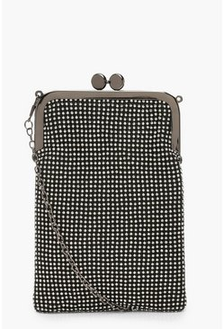 Womens Black Premium Diamante Clutch Bag