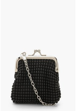 Womens Black Tiny Stud Penny Purse Bag & Chain