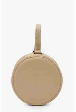 Womens Taupe Drum Handle Clutch Bag