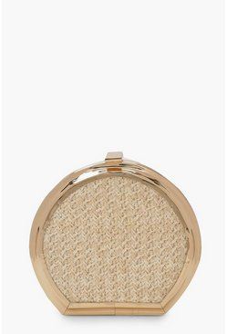 Womens Natural Woven Metal Trim Clutch Bag & Chain