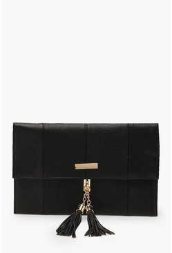 Womens Black Bar & Tassel PU Clutch Bag With Chain