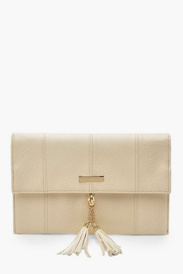 Womens Cream Bar & Tassel PU Clutch Bag With Chain